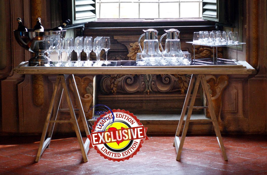 Vendita Tavoli Per Catering.Tavolo Persiana Shabby 180x60 H 82 Con Caprette Bianco Gallo